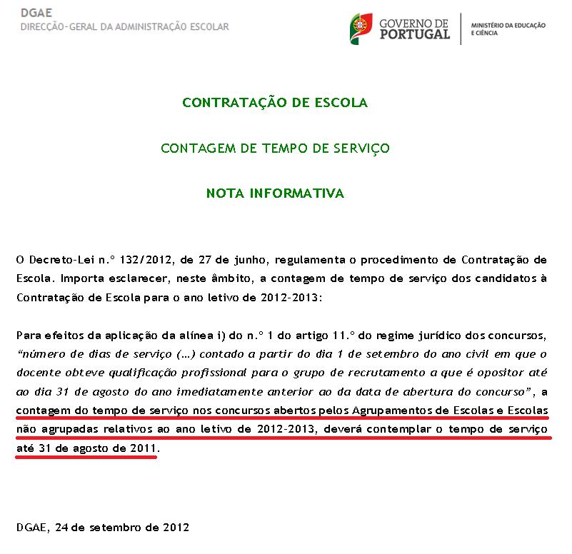 Nota Informativa - Contagem de tempo de serviço – CE para 2012-2013