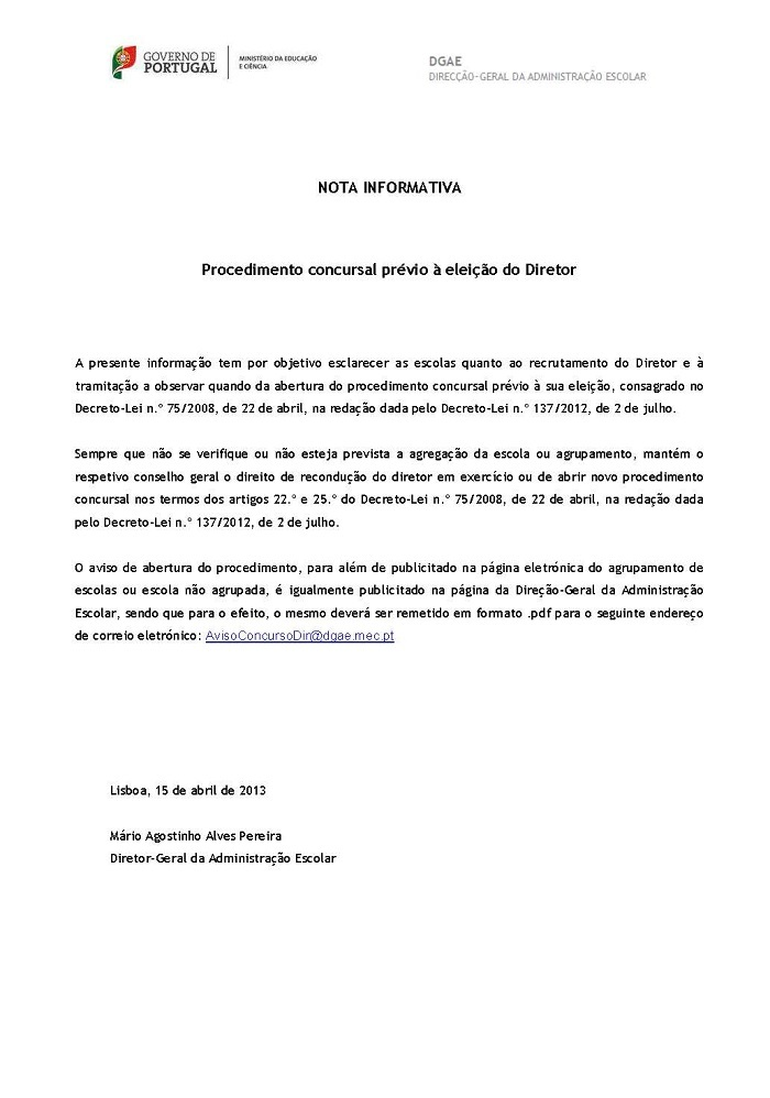 Nota Informativa _Procedimento Concursal prévio à eleição do Diretor